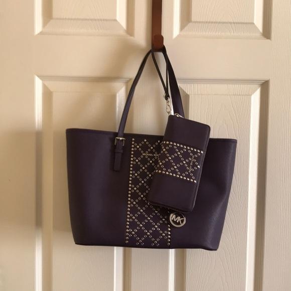 2e028bc75b55 Michael Kors Purple Tote and matching wallet